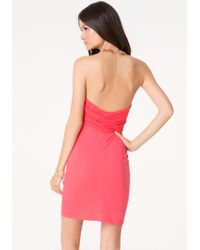 Bebe - Pink Draped Overlay Dress - Lyst