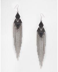 Pieces   Metallic Chain Drop Earrings   Lyst