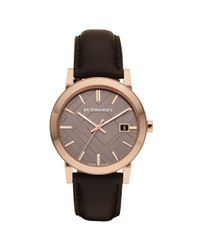 Burberry | Black Mens Swiss Smooth Brown Leather Strap 38mm for Men | Lyst