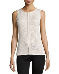 Lafayette 148 New York - White Knit Shell W/center Seam - Lyst