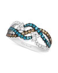 Le Vian | Chocolate (1/4 Ct. T.w.) And Blue (1/3 Ct. T.w.) Diamond Woven Ring In 14k White Gold | Lyst