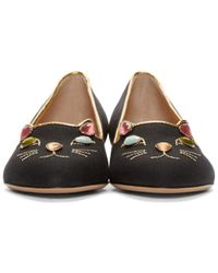 Charlotte Olympia - Black Kitty On The Rocks Flats - Lyst