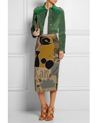 Burberry Prorsum - Green Cropped Patent Leather-Paneled Suede Jacket - Lyst