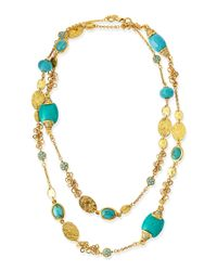 Jose & Maria Barrera | Blue Long 24K Gold Plate & Turquoise Necklace | Lyst