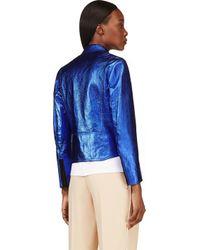 3.1 Phillip Lim - Blue Cobalt Metallic Foil Boxy Biker Jacket - Lyst