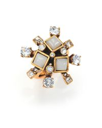 Oscar de la Renta - Blue Flower Cocktail Ring - Lyst