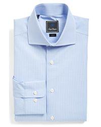 David Donahue - Blue Trim Fit Check Dress Shirt for Men - Lyst