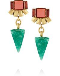 Elizabeth Cole Metallic Goldplated Crystal and Stone Earrings