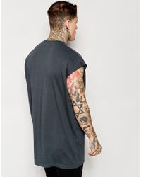 ASOS | Black Super Oversized Sleeveless T-shirt In Grey With Raw Edge for Men | Lyst