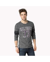 Tommy Hilfiger | Gray Cotton Printed Long Sleeve T-shirt for Men | Lyst
