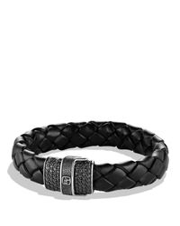 David Yurman - Metallic Pave Bracelet In Black With Black Diamonds for Men - Lyst