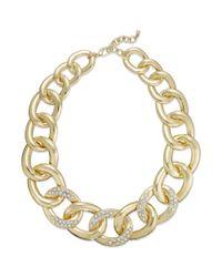INC International Concepts - Metallic Gold-tone Pavé Flat Link Necklace - Lyst
