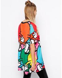 Lazy Oaf - Multicolor Oversized Boyfriend T-shirt Cartoon Print - Lyst