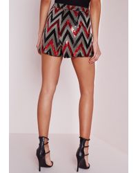 Missguided - Brown Zig Zag Sequin High Waisted Shorts - Lyst