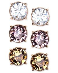 Nine West - Multicolor Gold-Tone Colorful Trio Stud Earring Set - Lyst