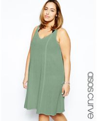 b1f9ada1d973 Lyst - Asos Exclusive Beach Swing Dress In Cheesecloth in Natural