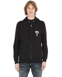 Stussy | Black Hooded Zip-up Cotton Blend Sweatshirt | Lyst