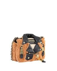 Moschino - Brown Faux Fur And Leather Mini Biker - Lyst