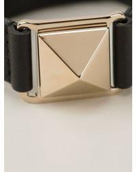 Valentino - Black Studded Bracelet - Lyst