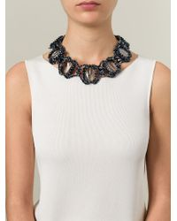 Night Market - Blue Embellished Ribbon Necklace - Lyst