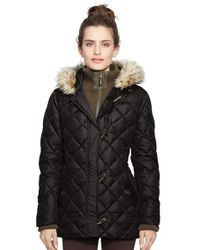 Lauren by Ralph Lauren Black Faux Fur Trim Toggle Closure Quilted Down & Feather Fill Jacket