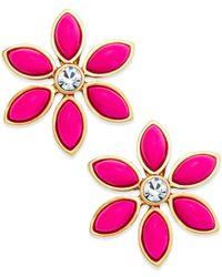 kate spade new york - Gold-Tone Pink Eyelet Garden Earrings - Lyst