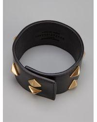 Saint Laurent - Black Studded Cuff - Lyst