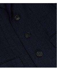 Burberry Blue Velvet Collar Houndstooth Coat for men