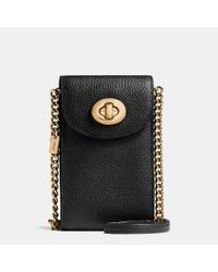 COACH - Black Cell-Holder Pebbled-Leather Cross-Body Bag - Lyst