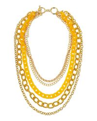 Kenneth Jay Lane - Yellow Layered Chain Link Necklace - Lyst
