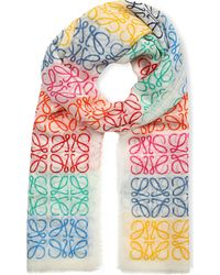 Loewe | Anagram Line Scarf, Women's, White/multicolor | Lyst