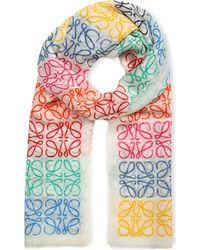 Loewe - Anagram Line Scarf, Women's, White/multicolor - Lyst