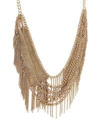 BCBGMAXAZRIA | Metallic Layered Mesh Fringe Necklace | Lyst