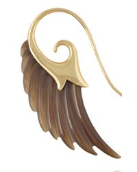 Noor Fares | Brown Wing Earrings with Yellow Gold and Horn | Lyst