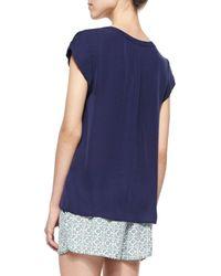 Joie   Blue Mayenne Cap-sleeve Silk Blouse   Lyst