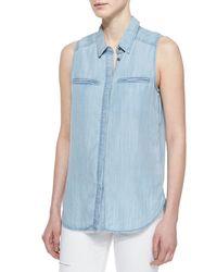 PAIGE - Blue Arianna Sleeveless Denim Shirt - Lyst