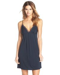 Carole Hochman | Blue V-Neck Lace and Stretch-Knit Chemise | Lyst