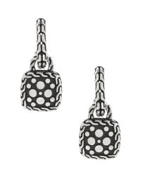 John Hardy | Metallic Dot Silver Nuansa Squaredrop Hoop Earrings | Lyst