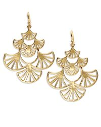 Trina Turk | Metallic Goldtone Fan Chandelier Earrings | Lyst