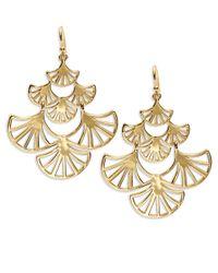 Trina Turk - Metallic Goldtone Fan Chandelier Earrings - Lyst