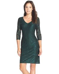 Julia Jordan | Green Flocked Sheath Dress | Lyst