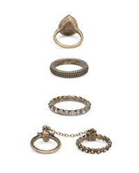 Forever 21 - Metallic Chained Rhinestone Midi Ring Set - Lyst