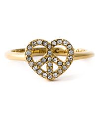 Marc By Marc Jacobs - Metallic Crystal Embellished Heart-Peace Ring - Lyst
