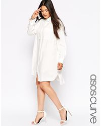 ASOS | White Curve Shirt Dress With Pocket | Lyst