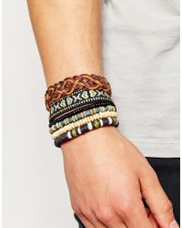 ASOS | Multicolor Woven Bracelet Pack for Men | Lyst