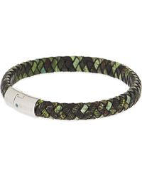 Tateossian | Xxv Anniversary Cobra Leather Bracelet, Men's, Green for Men | Lyst