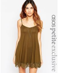 ASOS | Natural Cami Swing Dress With Lace Hem | Lyst
