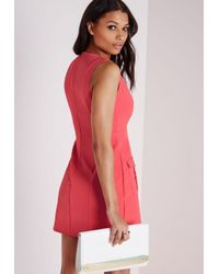 ab09dfd24517 Lyst - Missguided V Neck Plunge Pocket Mini Dress Coral in Pink