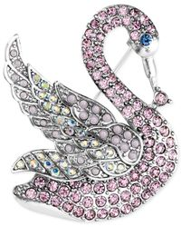 Jones New York - Silver-tone Pink Crystal And Stone Swan Pin - Lyst