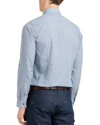 Ted Baker - Blue Thewolf Micro Tile Slim Fit Button Down Shirt for Men - Lyst